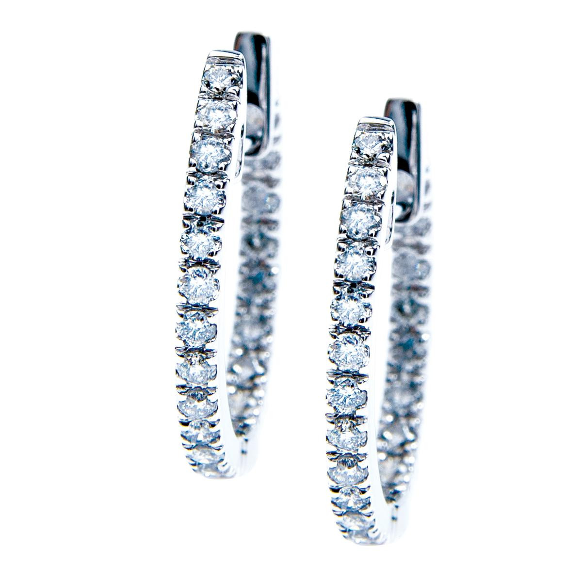 New 0.50 CTW Diamond Hoop Earrings