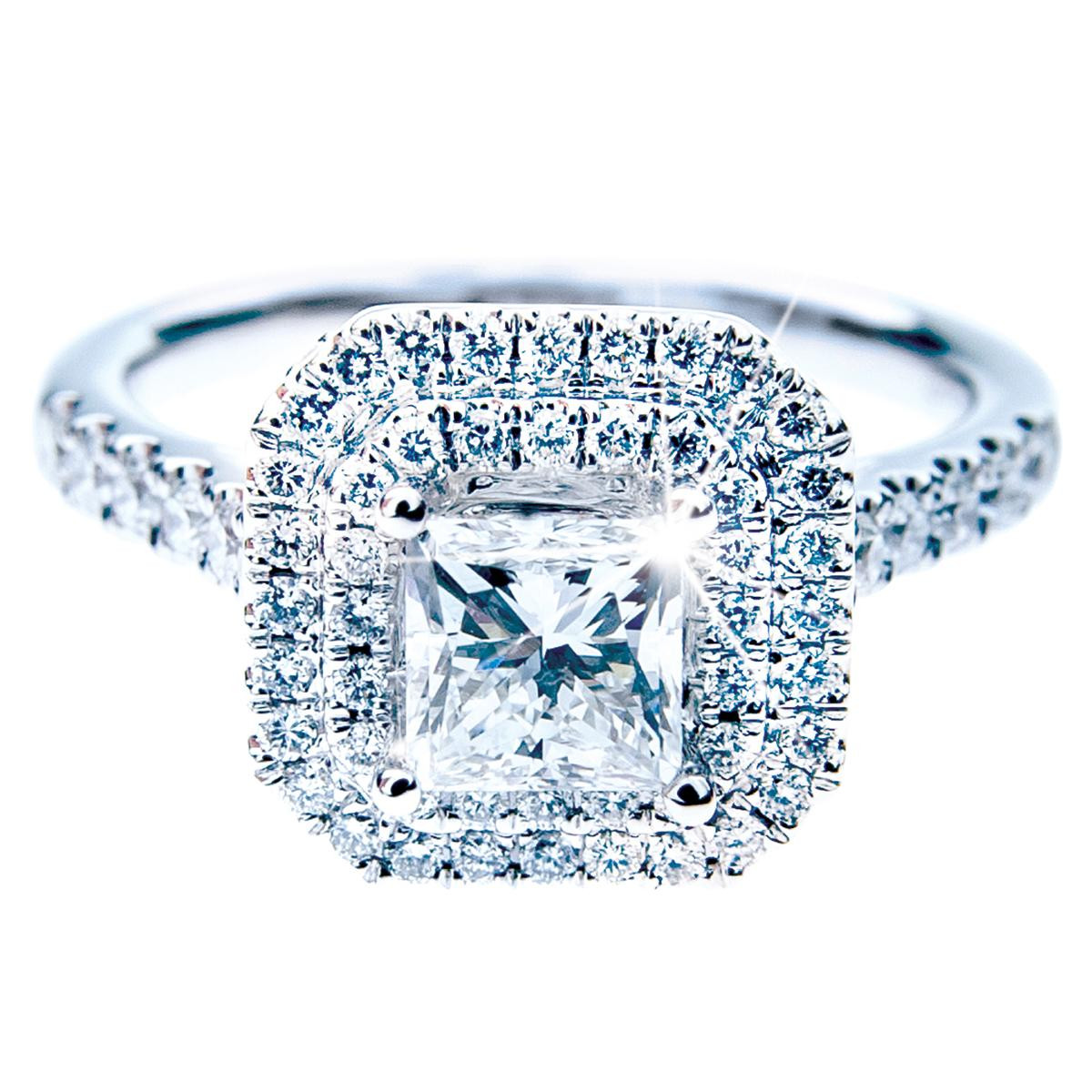 New 1.00 Carat Princess Cut Diamond Engagement Ring with 0.64 CTW Halo of Diamonds