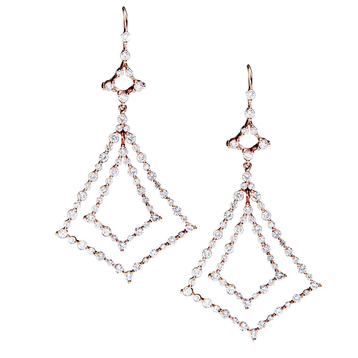 New 1.63 CTW Diamond Triangular Dangle Earrings