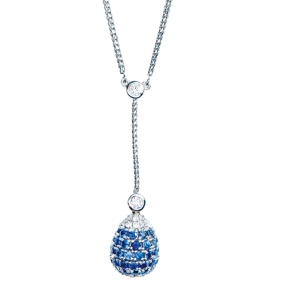 1.75 CTW Sapphire & Diamond Y-Drop Pendant