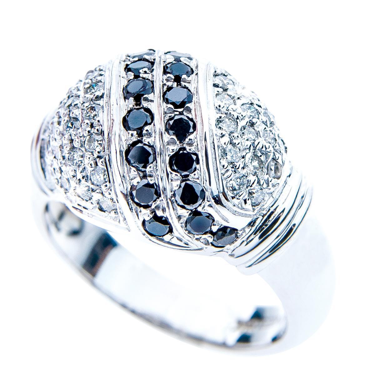 Vintage 0.80 CTW Black and White Diamond Dome Ring