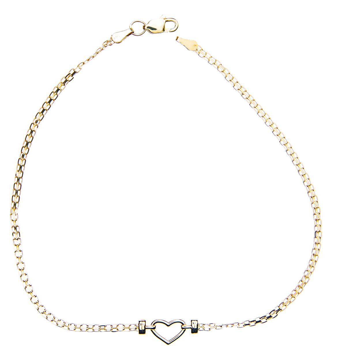 New 14 Karat Yellow Gold Heart Anklet