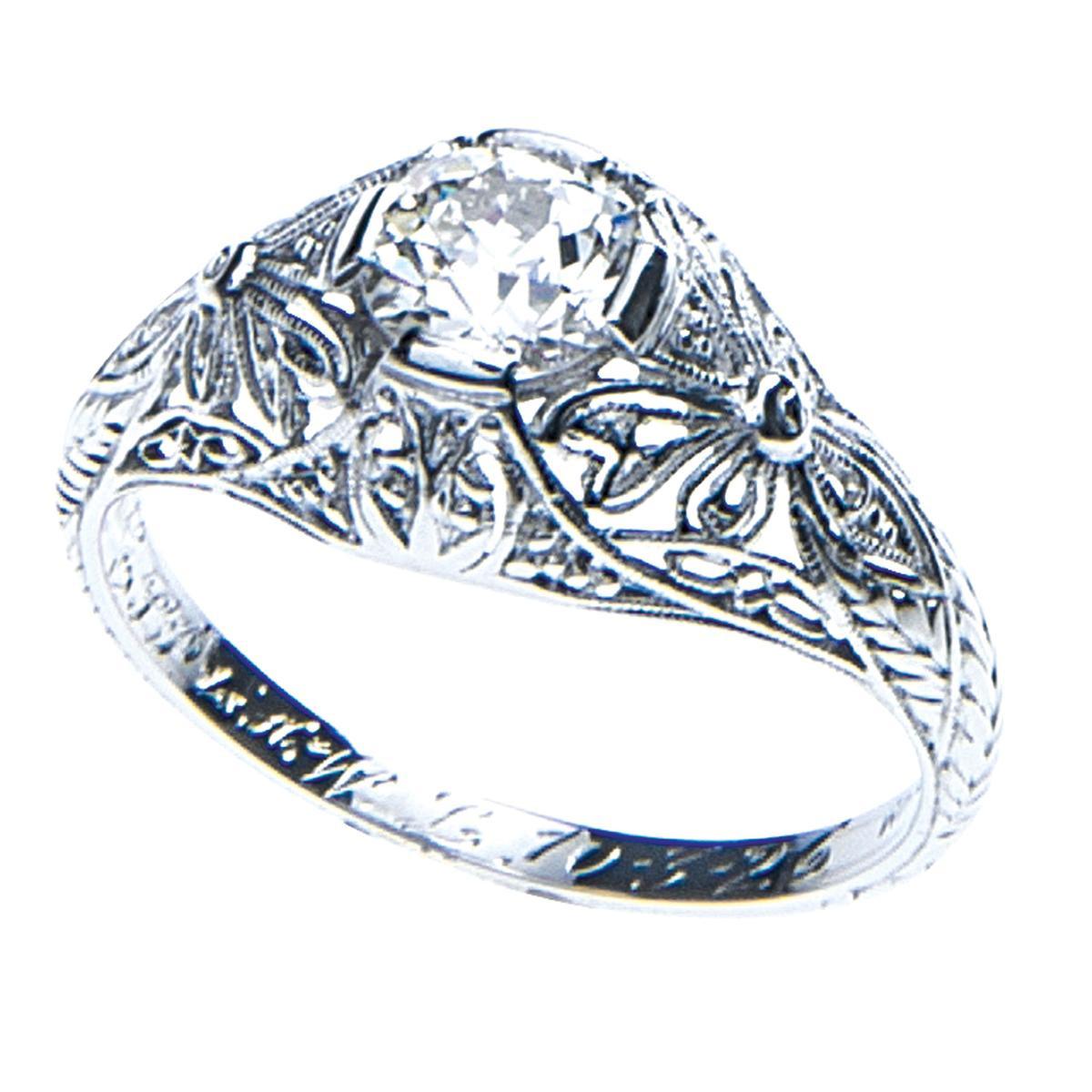 Edwardian 0.70 Ct Flower Engraved Ring