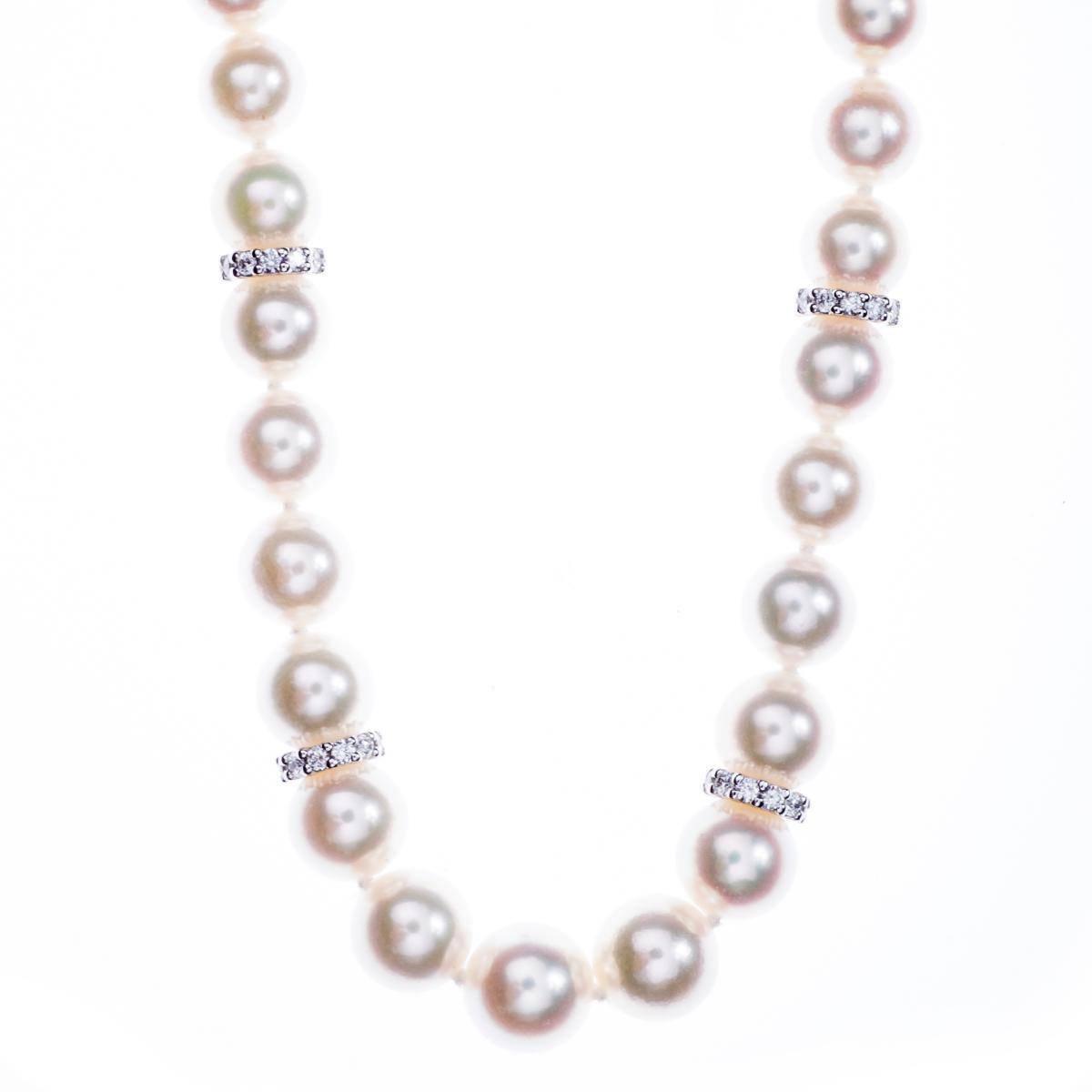 Vintage Mikimoto Pearl Necklace with Diamond Rondelles