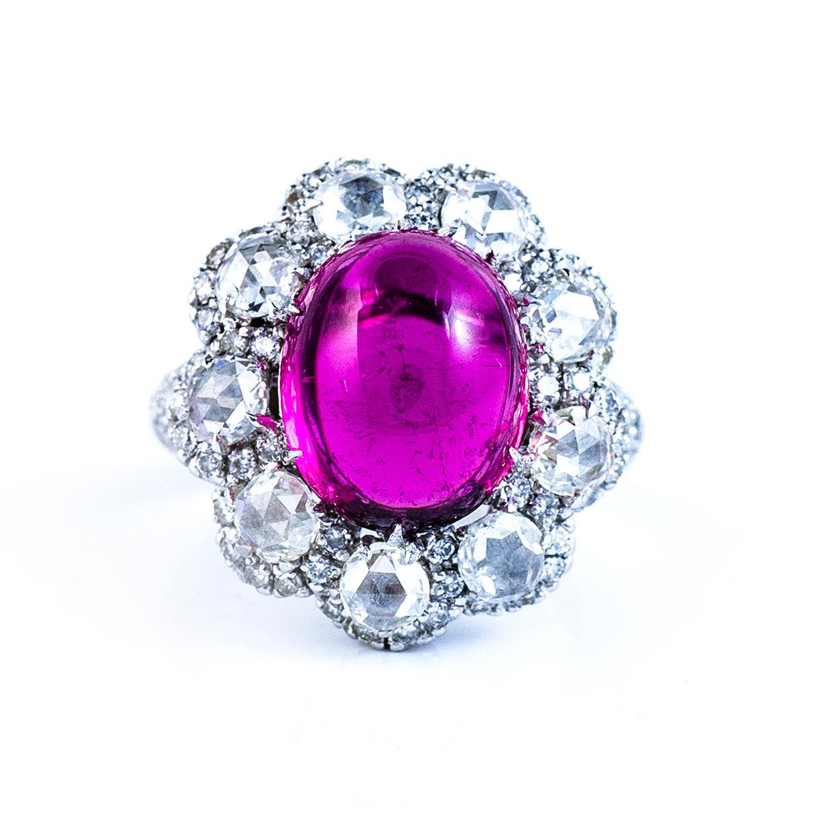 Vintage 9.18 CT Cabochon Rubellite Ring