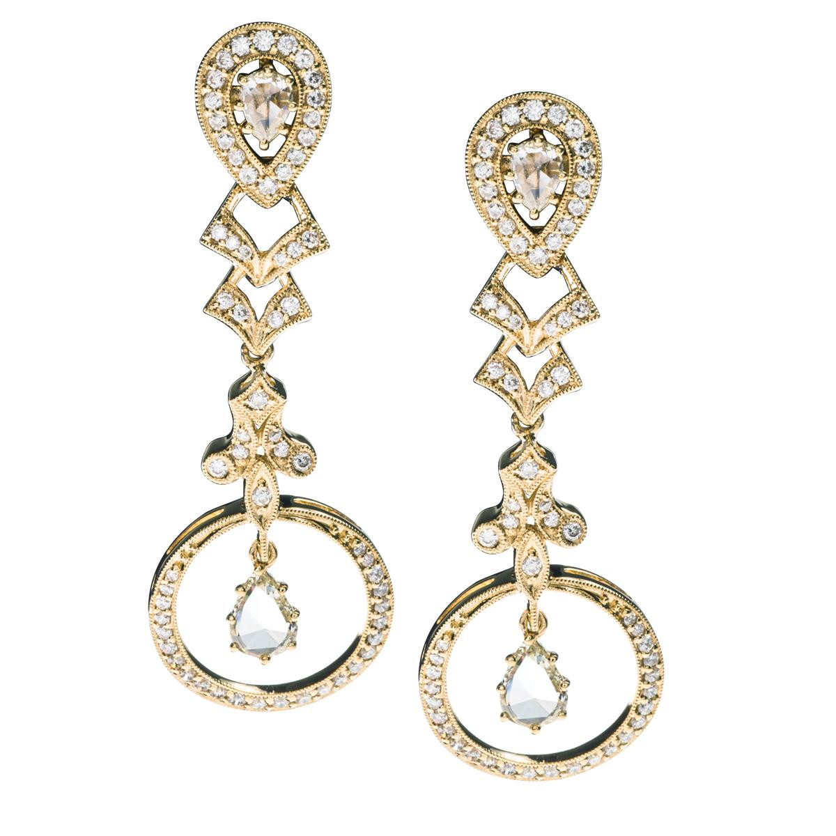 New Judy Mayfield 1.33 CTW Round & Pear Shaped Diamonds Earrings