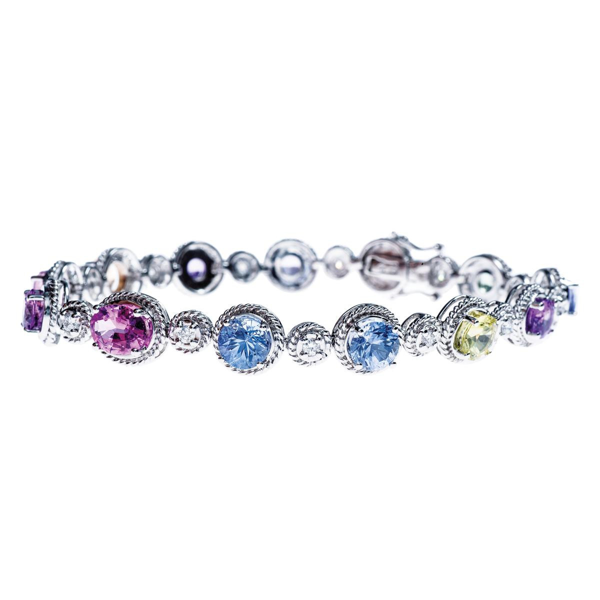 Vintage Judy Mayfield Multi-Colored Sapphire and Diamond Bracelet