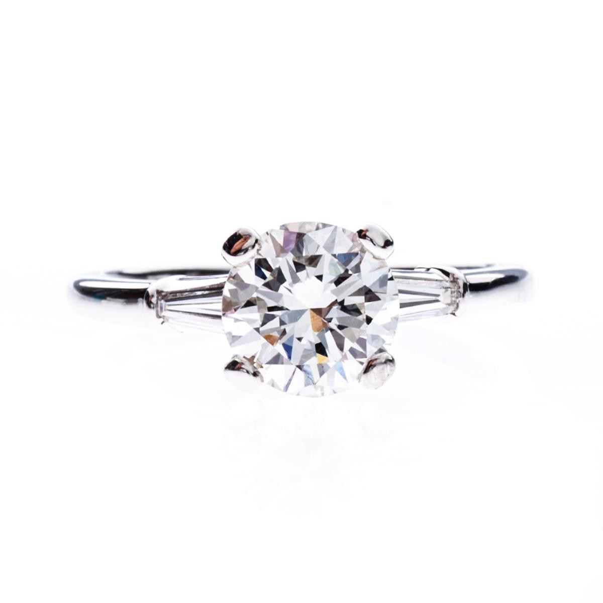 Vintage 1.23 Carat Platinum Engagement Ring