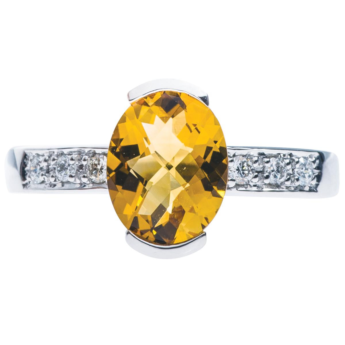 1.45 Carat Citrine and Diamond Ring