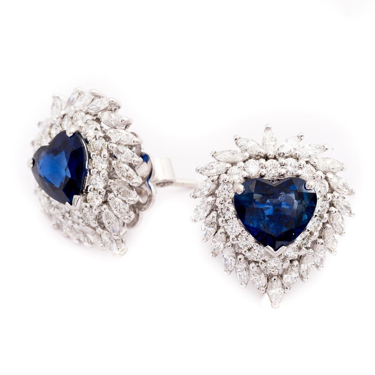 Vintage 8.95 CTW Heart Shaped Sapphire & Diamond Earrings