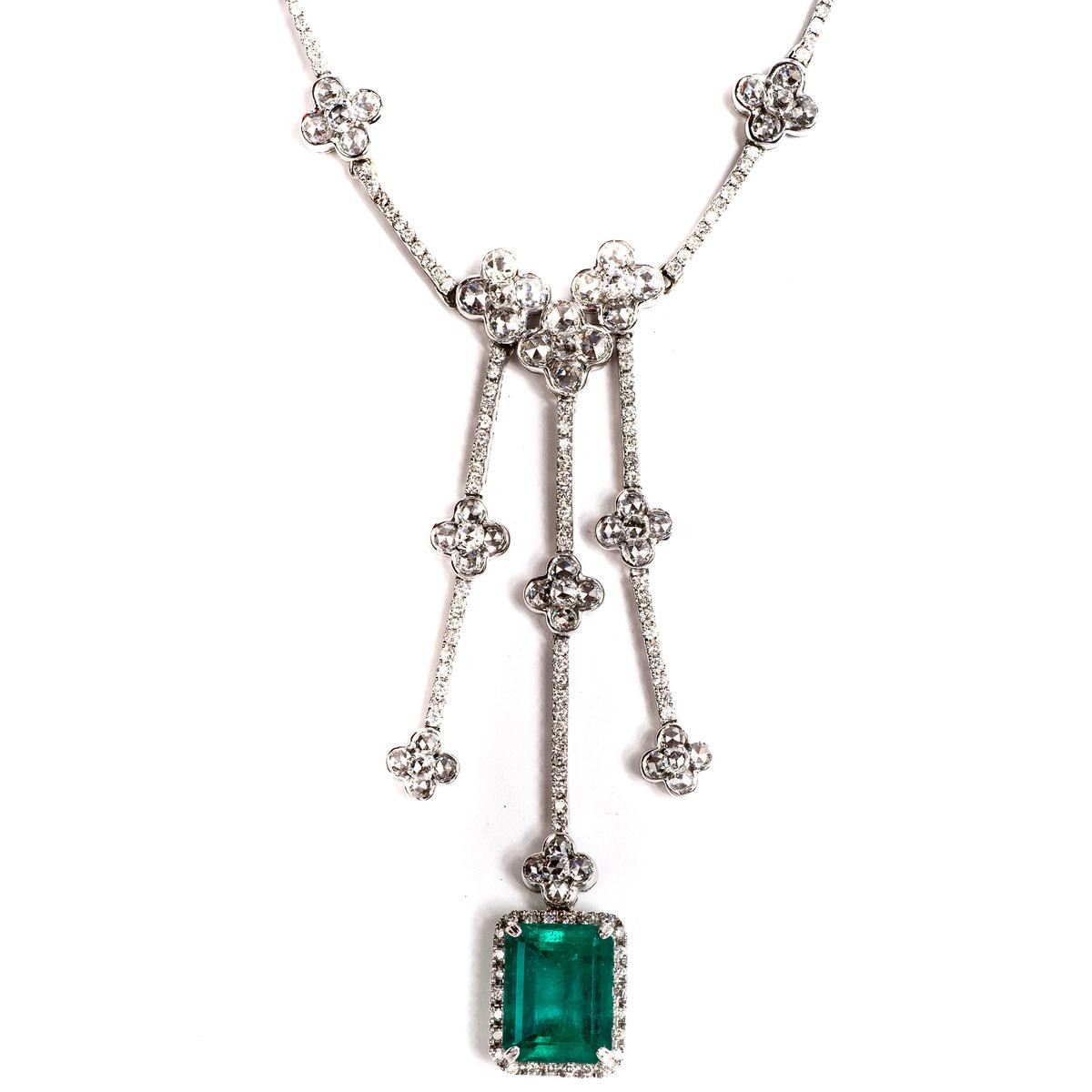 Vintage 8.86 CTW Emerald & Diamond Drop Necklace