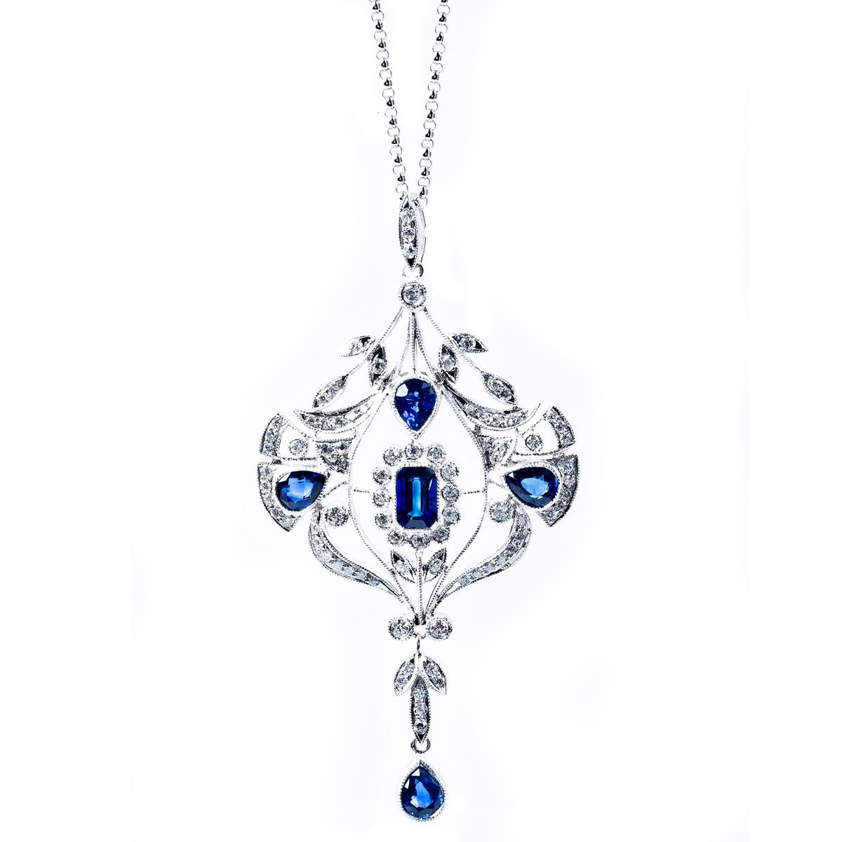 Vintage Edwardian Style Diamond & Sapphire Pendant
