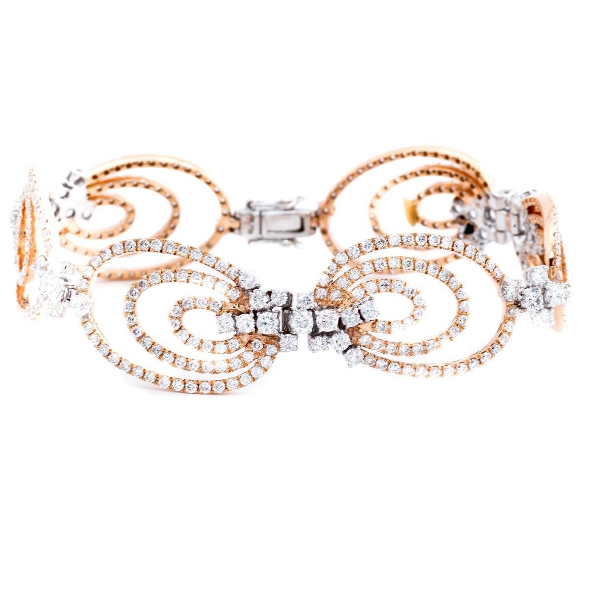 18K White & Rose Gold 7.56 CTW Diamond Bracelet