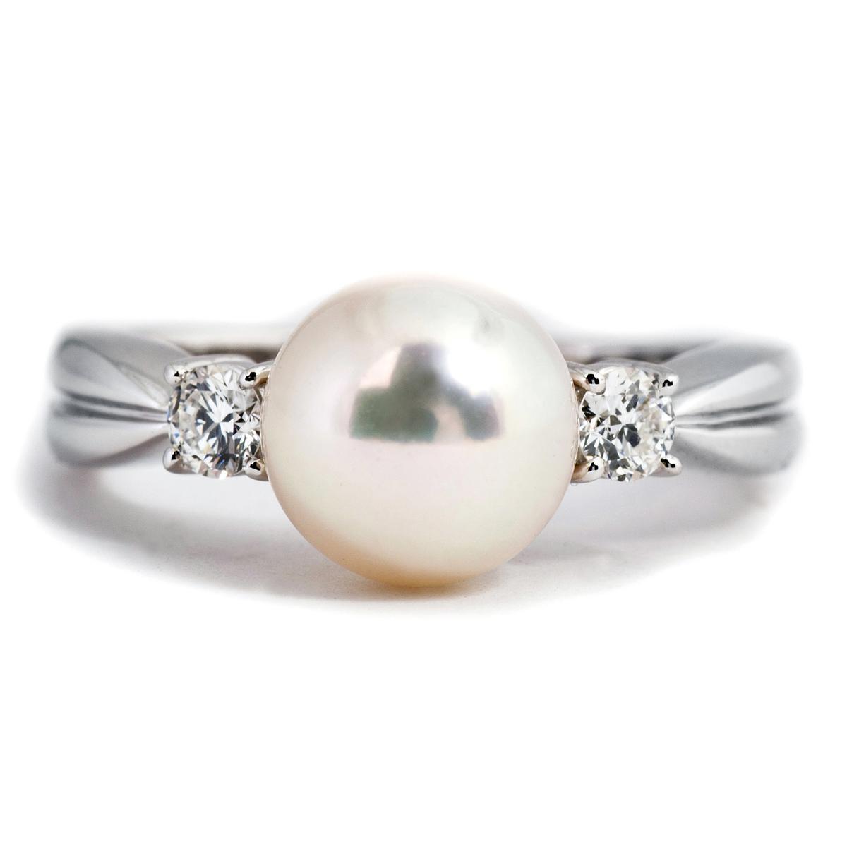 Vintage Mikimoto Round Akoya Pearl Ring
