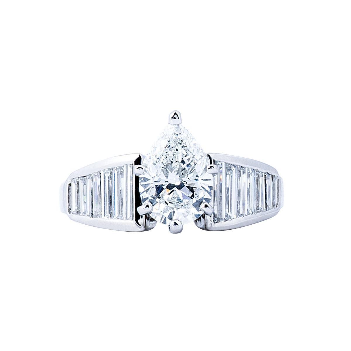 Vintage Platinum 2.33 CTW Pear Diamond Ring