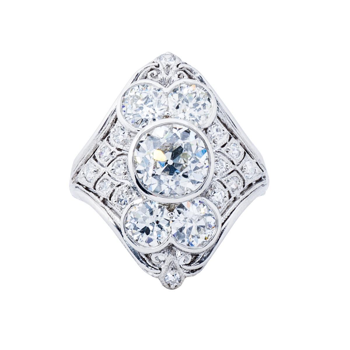 Antique Platinum 3.31 CTW Diamond Ring
