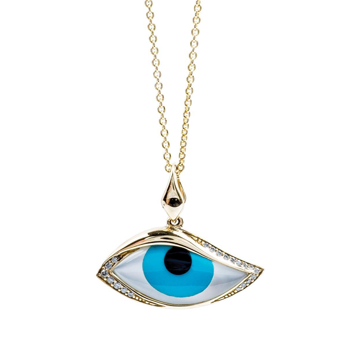 Vintage Kabana Evil Eye Turquoise Pendant