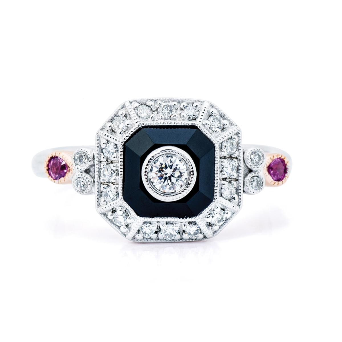 Vintage Diamond, Onyx and Pink Sapphire Ring