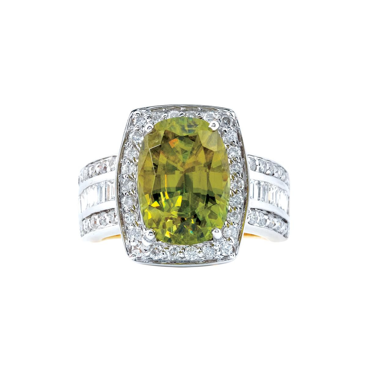 Vintage 7.75 CT Green Sphene Ring