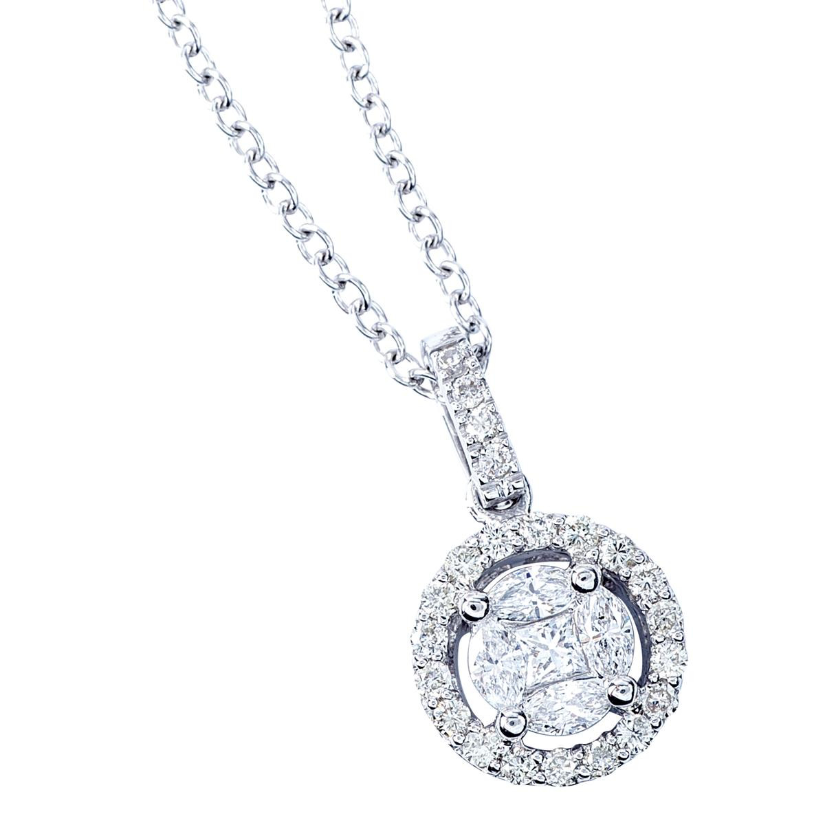 New 0.55 CTW Mixed Diamond Halo Pendant