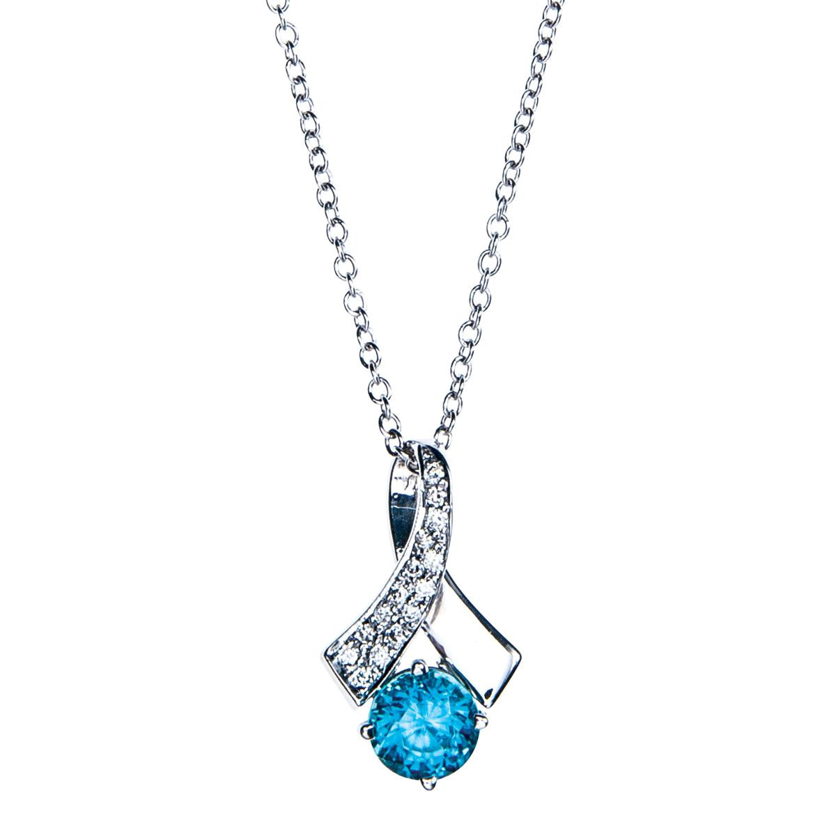 Vintage 2.37 Ct Blue Zircon & Diamond Pendant