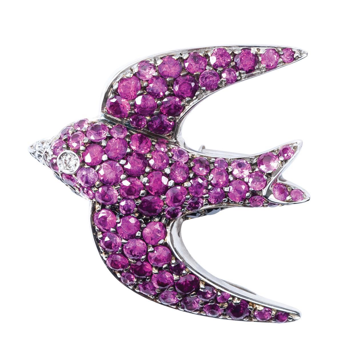 Vintage 1.31 CTW Pink Sapphire & Diamond Swallow Pendant/Brooch