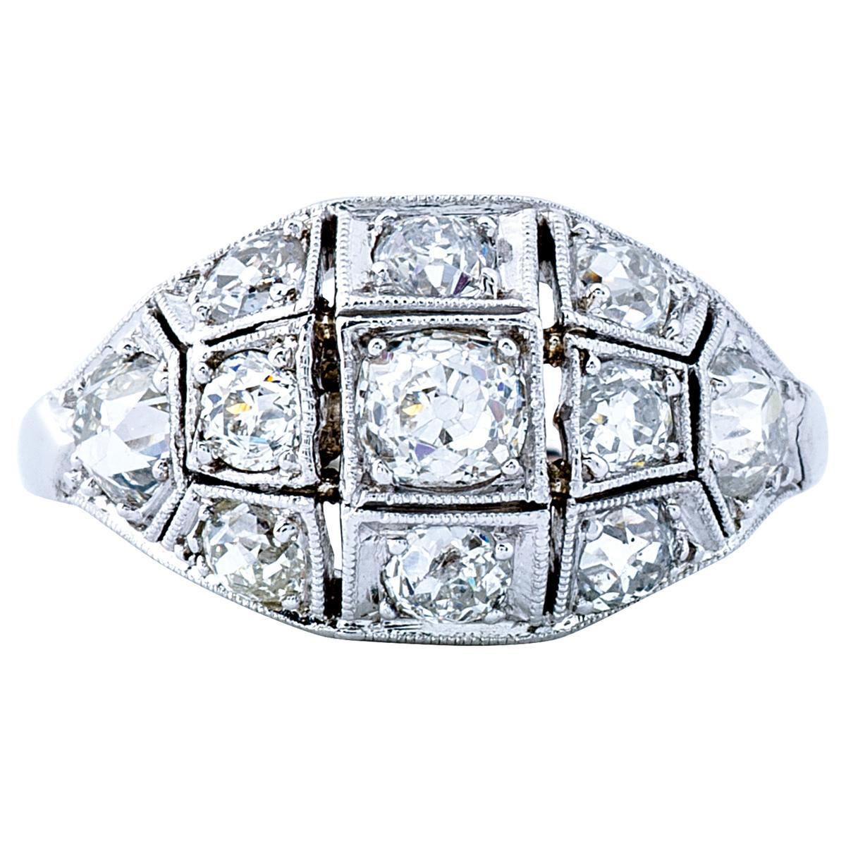 Antique 1.50 CTW Diamond Milgrain Domed Ring