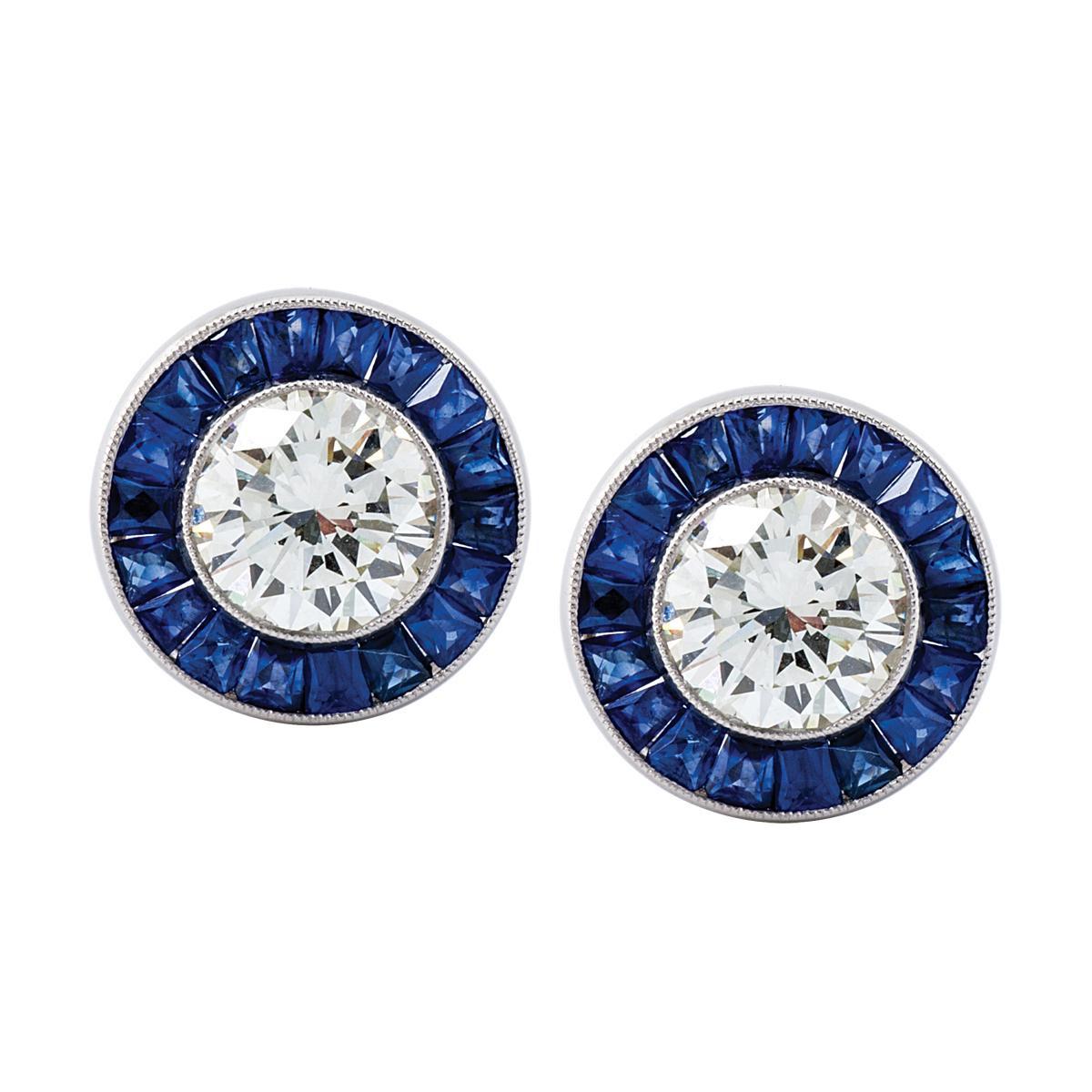 Vintage Platinum Earrings with 3.00 CTW Diamonds & 1.18 CTW Sapphires