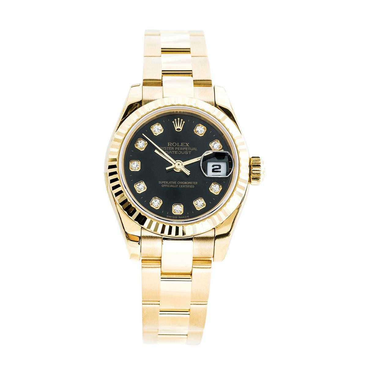 Preowned Women's 18K Gold Rolex Datejust with Diamond Dial