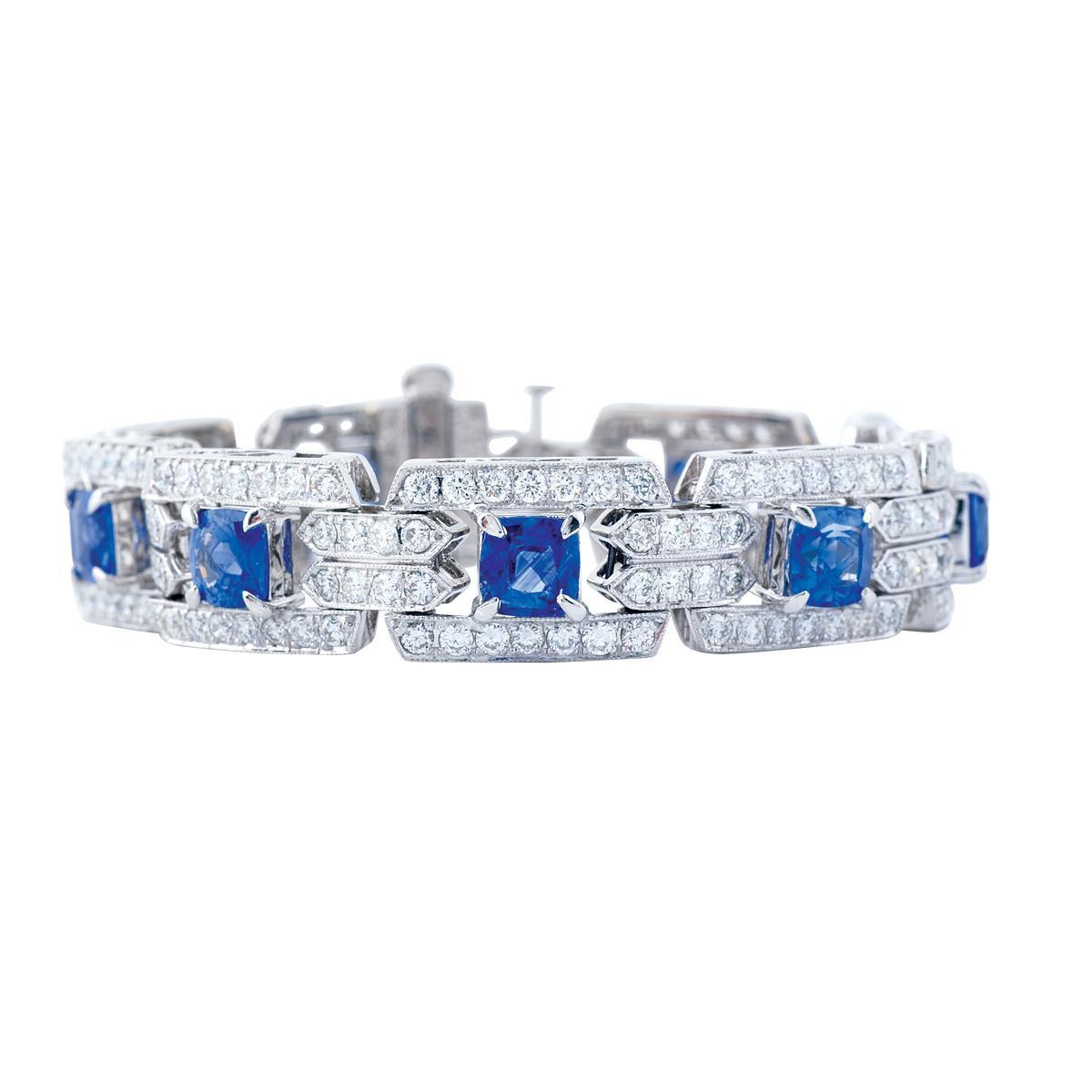 Vintage Platinum 16.12 CTW Diamond and Sapphire Bracelet