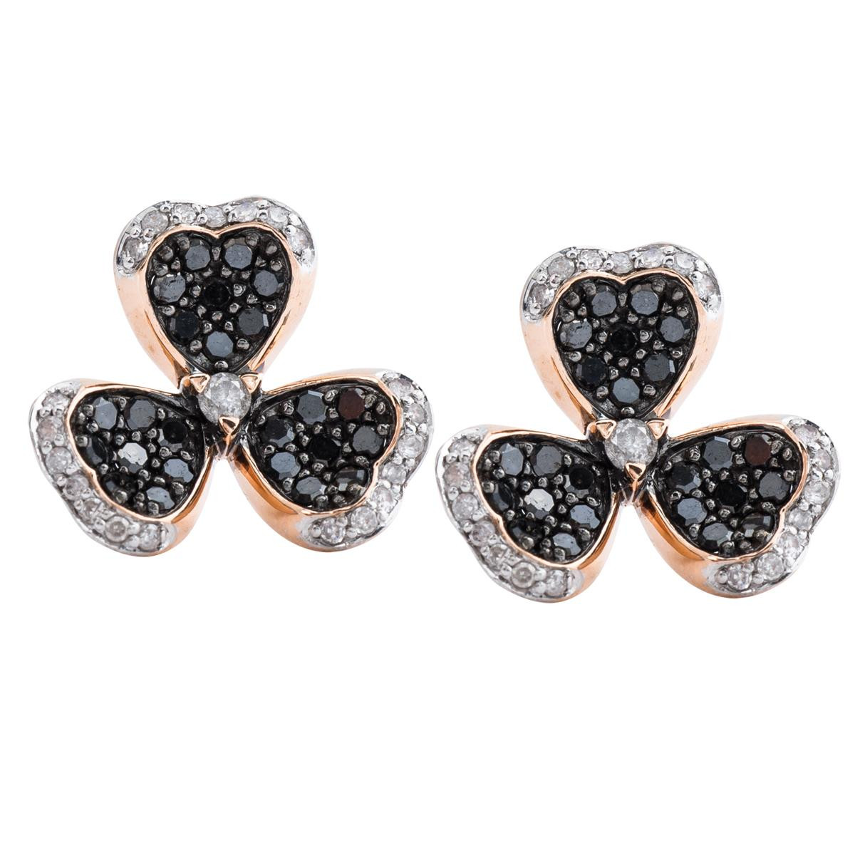 New 0.75 CTW Black & White Diamond Clover Earrings