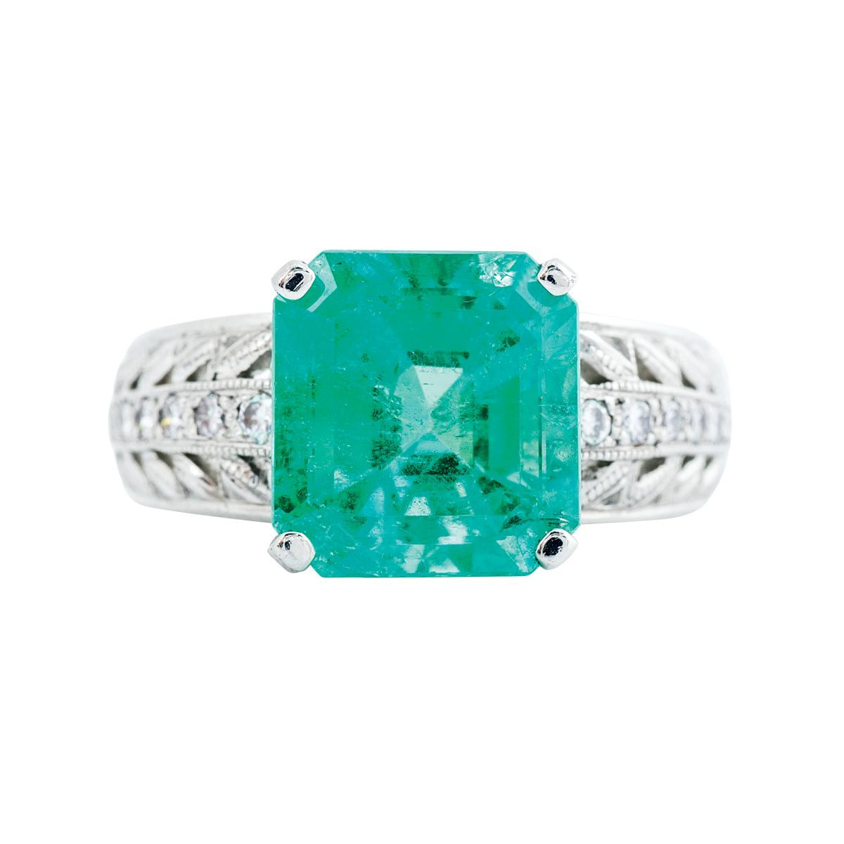 vintage 5 00 ct emerald and ring