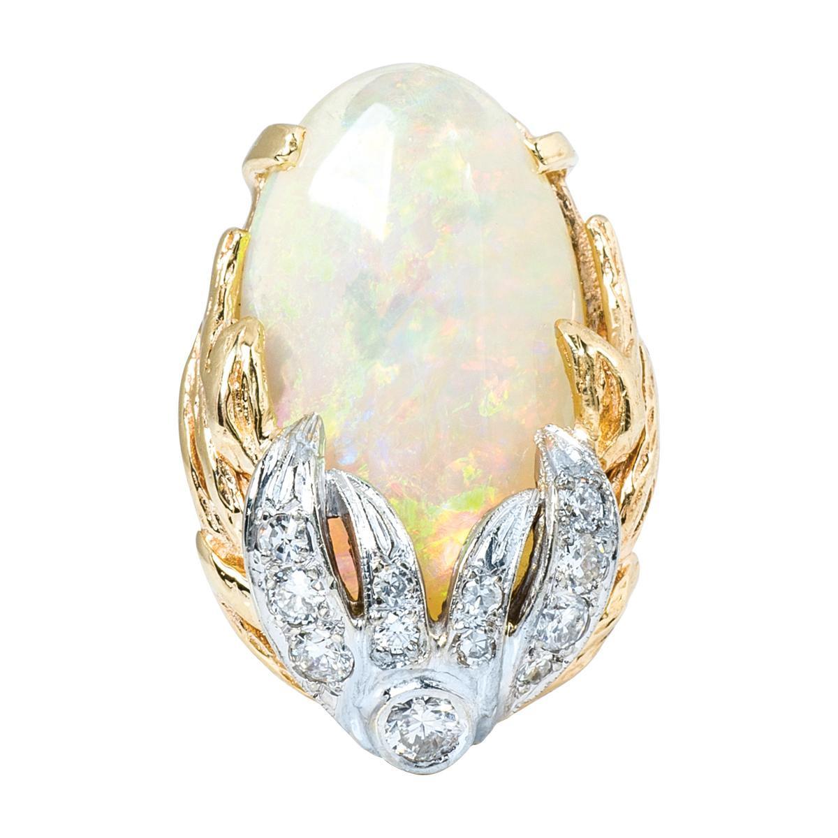 Vintage Opal & Diamond Leaf Design Ring