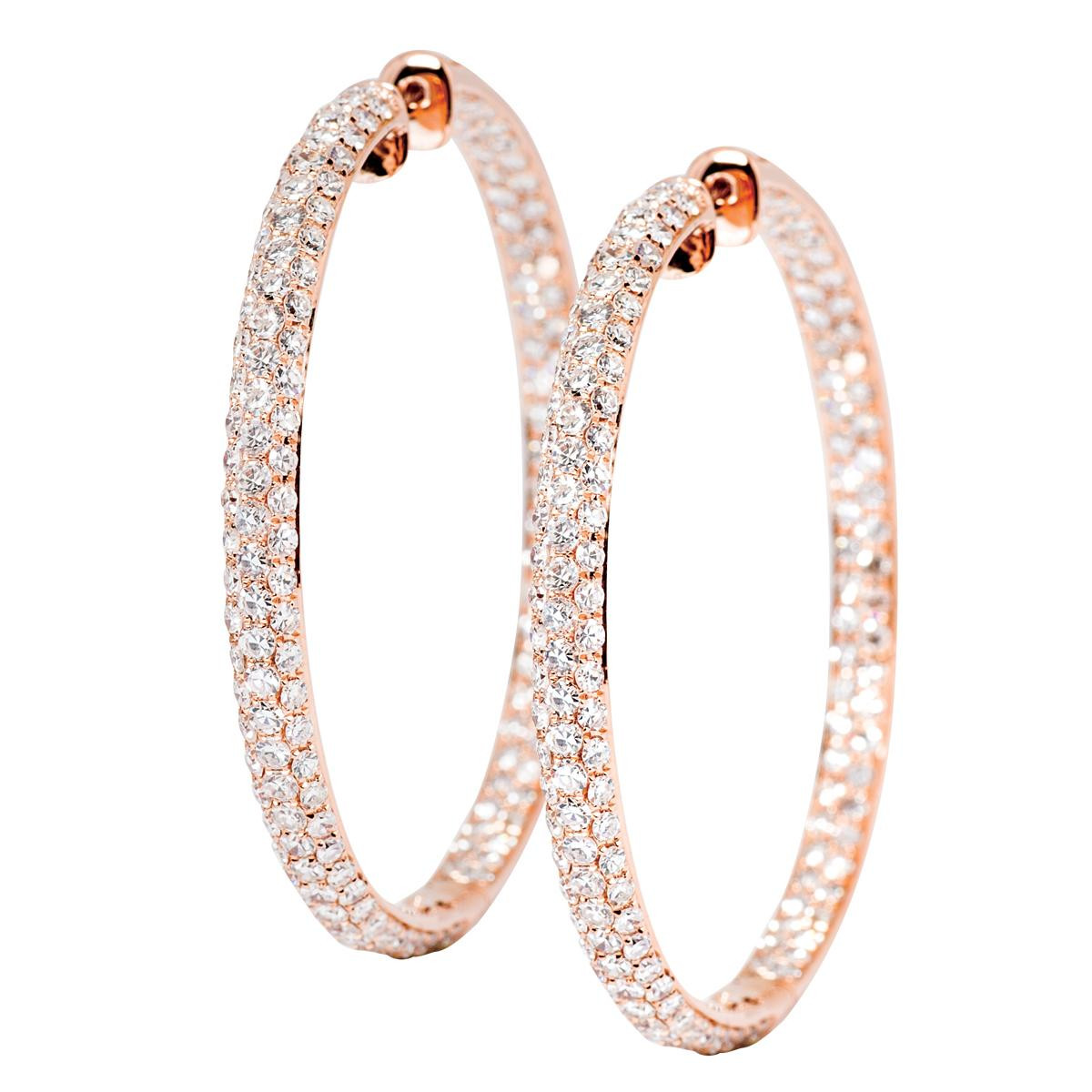 14k Rose Gold 7.65 CTW Diamond Hoops