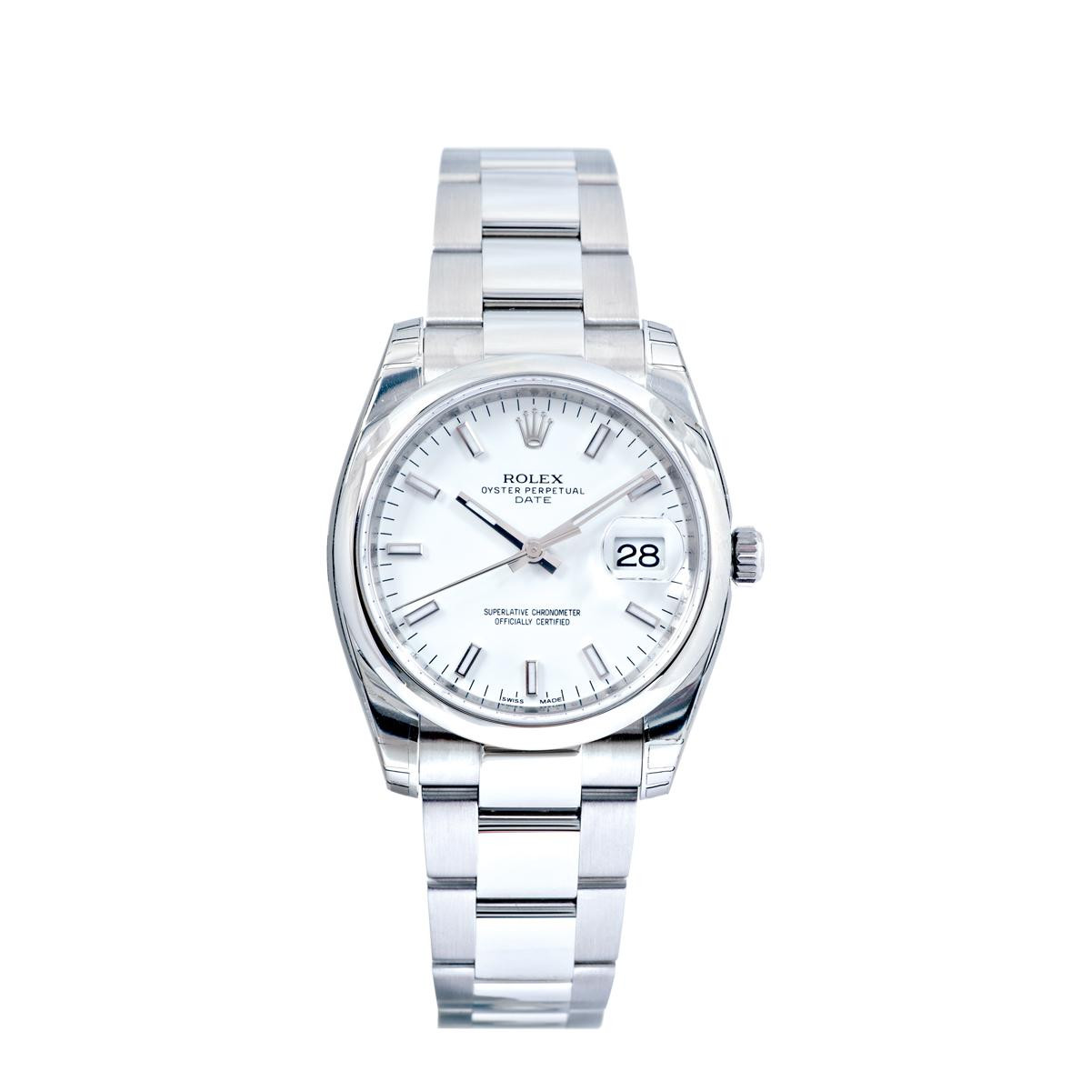 Pre-owned Men's Stainless Steel Rolex Date with White Dial