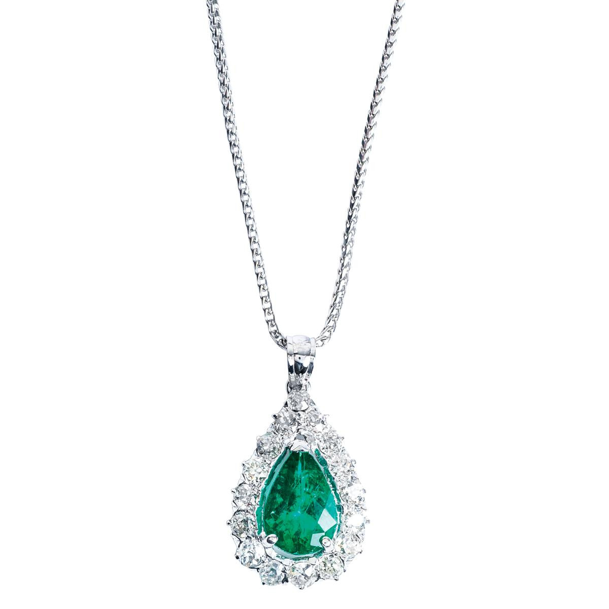 Antique 2.93 CTW Pear Shape Emerald & Diamond Pendant