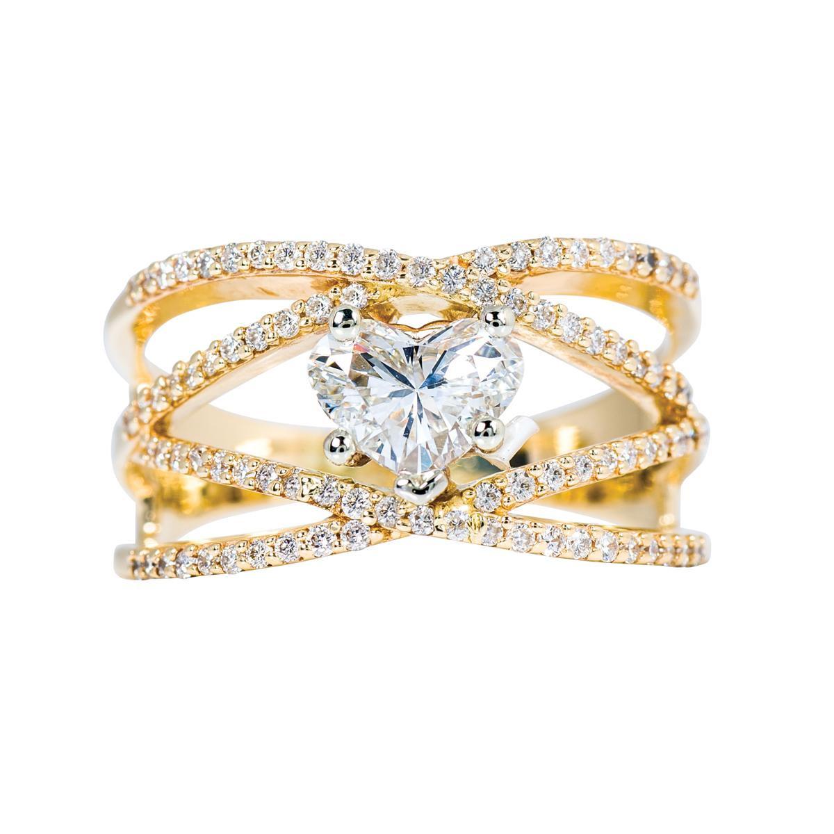 Vintage 1.70 CTW Heart Cut Diamond Ring
