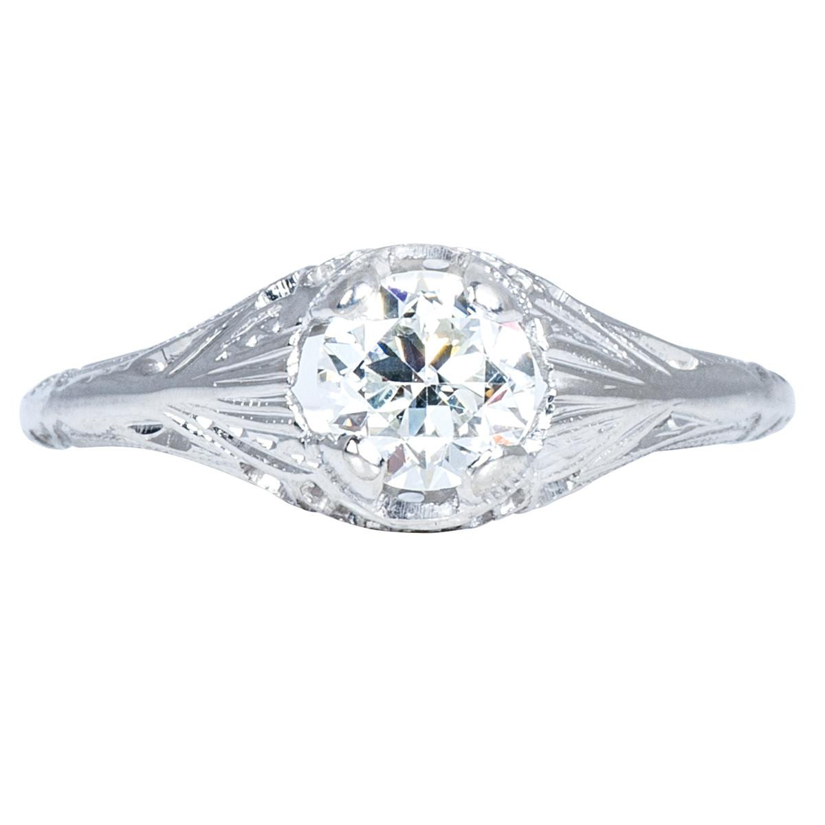 Vintage 0.54 CT Hand-Engraved Engagement Ring