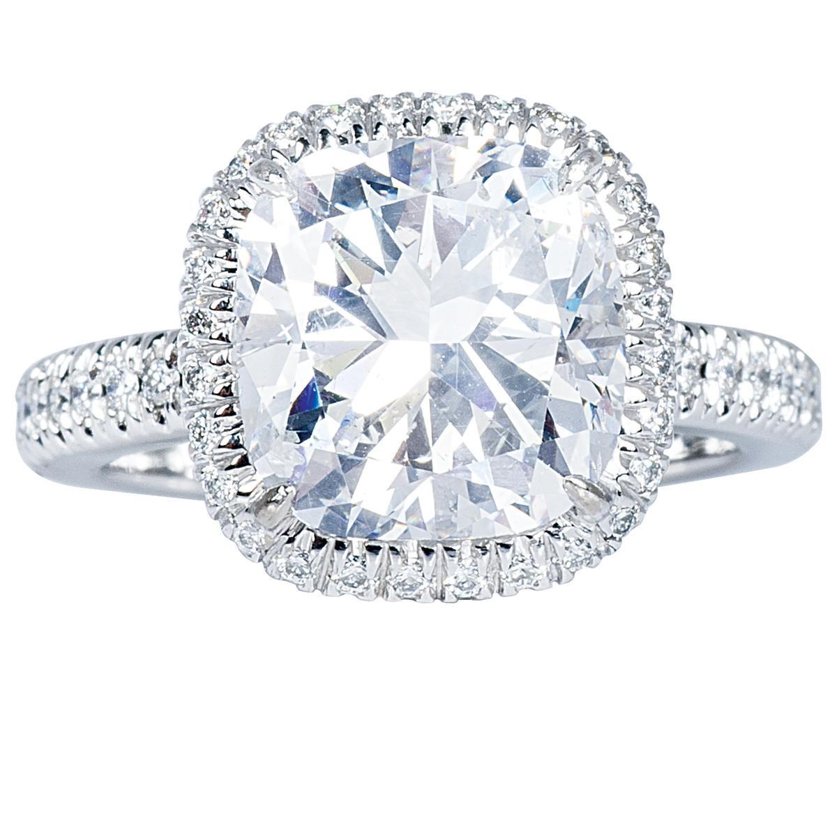 New 5.16 CTW Cushion-Cut Diamond Engagement Ring