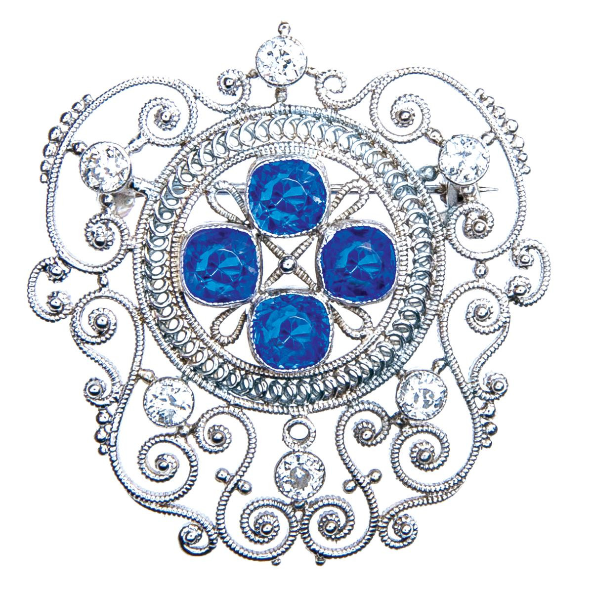 Vintage 0.60 CTW Diamond & Blue Glass/Sapphire Brooch