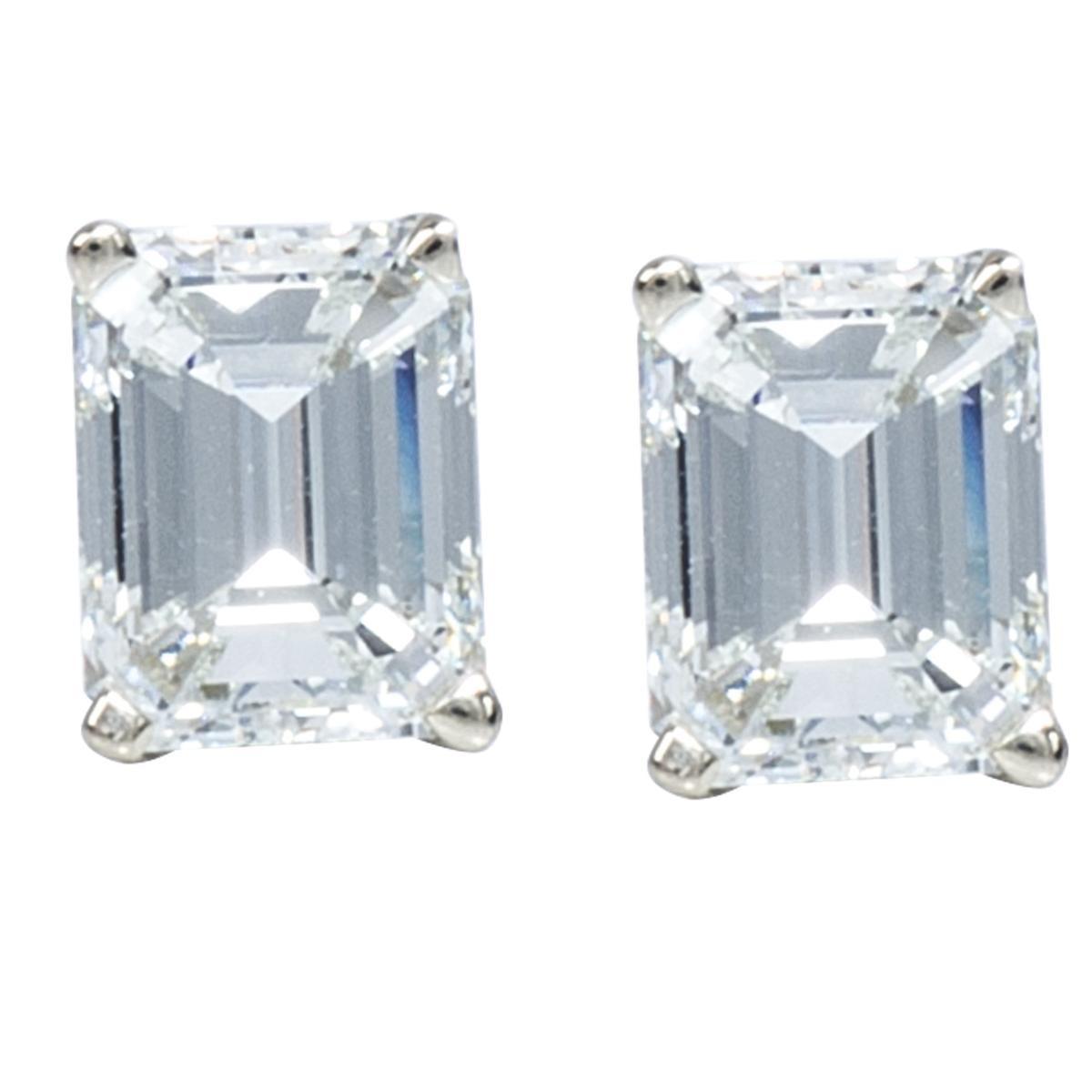 1.02 CTW Emerald Cut Stud Diamond Earrings
