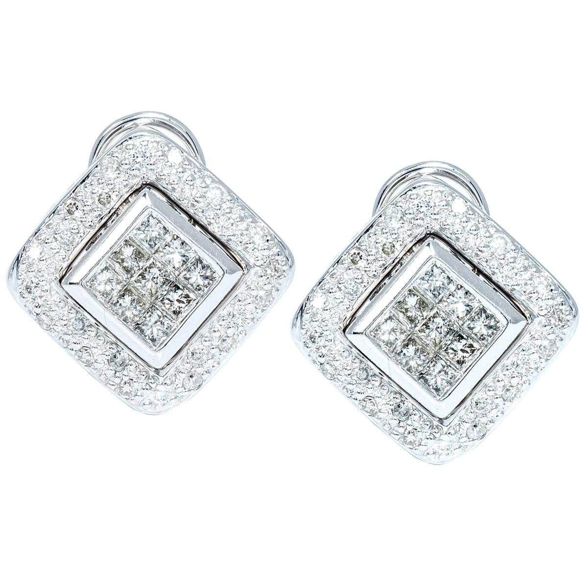 Vintage 0.95 CTW Princess Cut Diamond Earrings