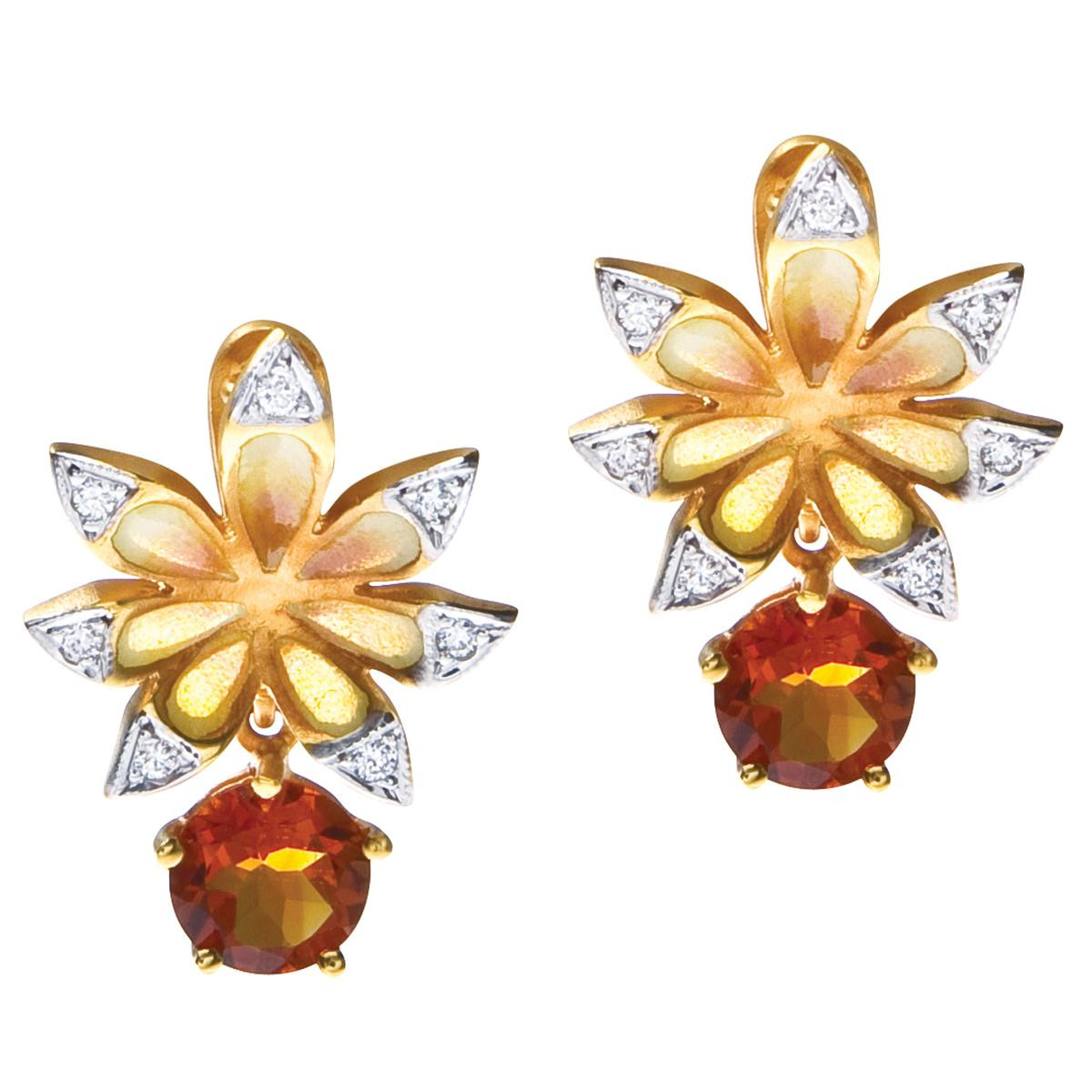 New Masriera 1.54 CTW Citrine & Diamond Enamel Earring