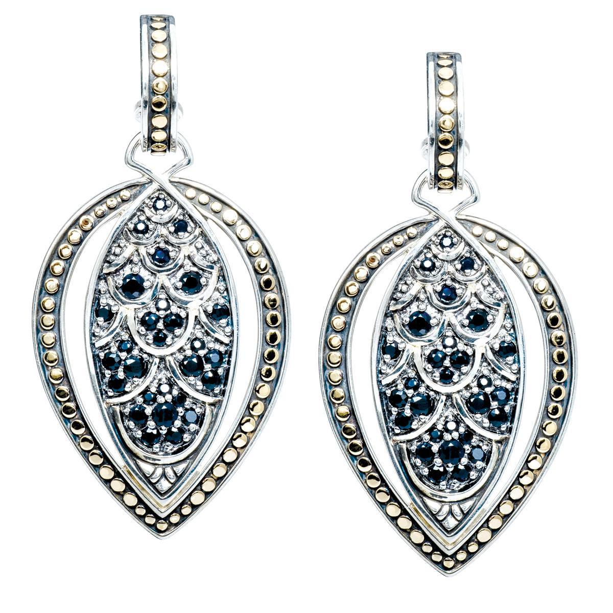 Vintage John Hardy Black Diamond Naga Earrings