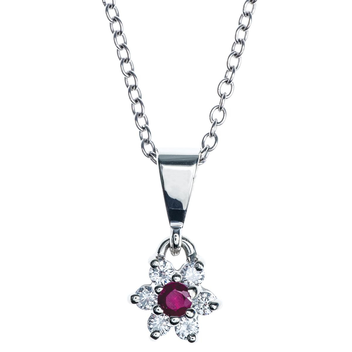 Vintage Diamond and Ruby Flower Pendant