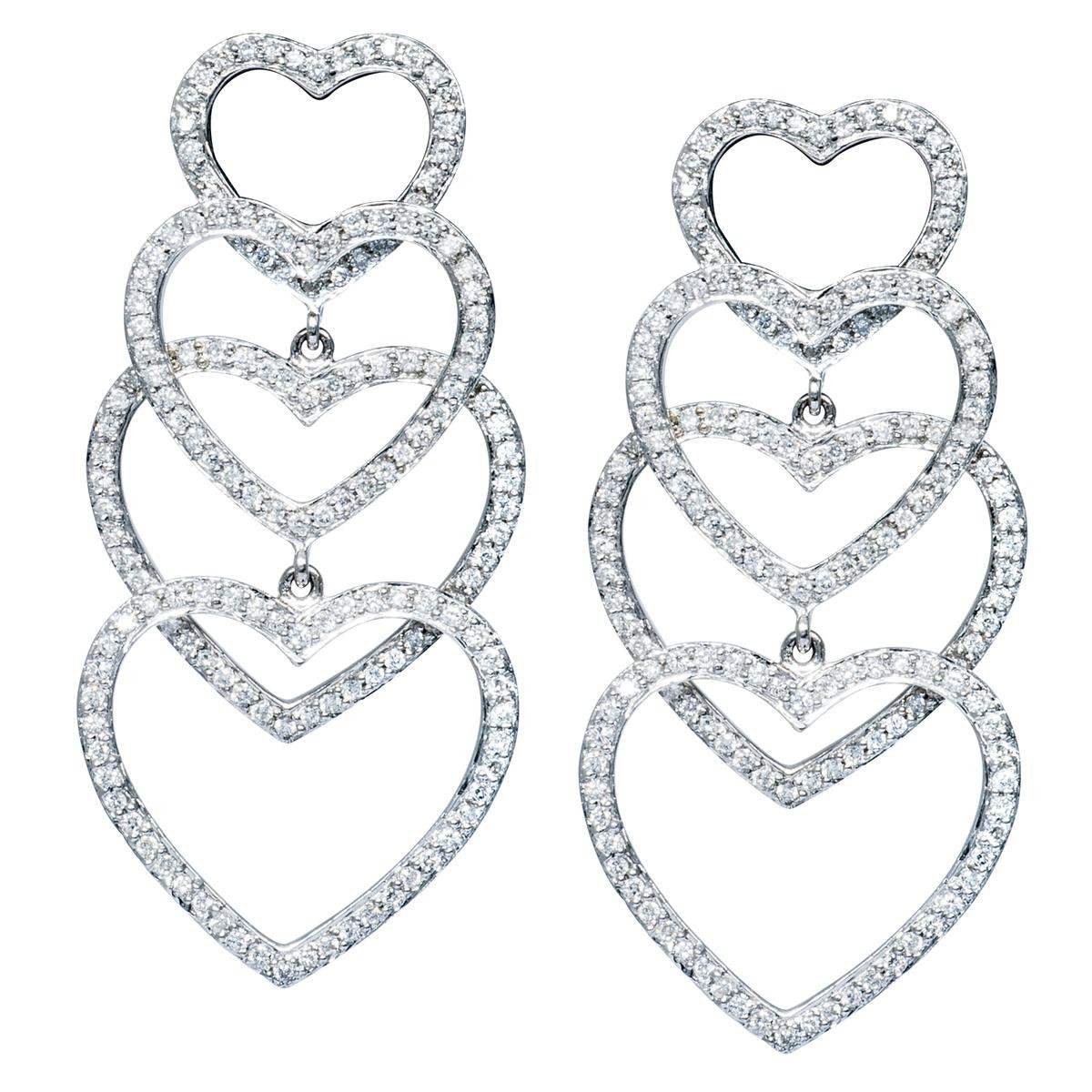 1.65 CTW Diamond Heart Dangle Earrings