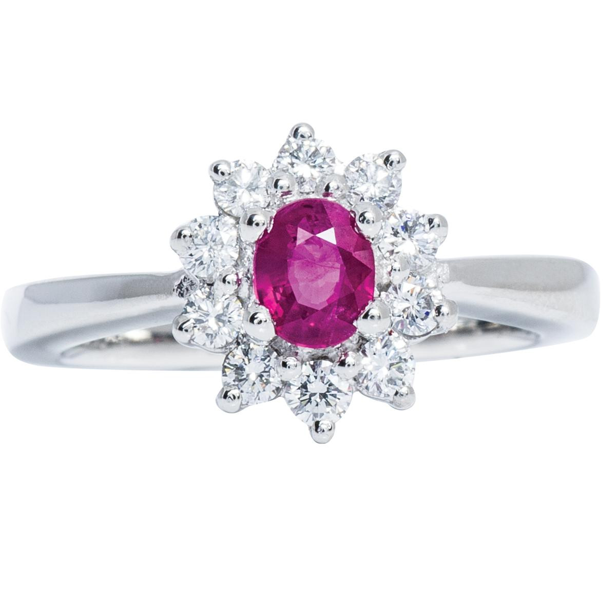 Vintage Diamond & Ruby Flower Cluster Ring