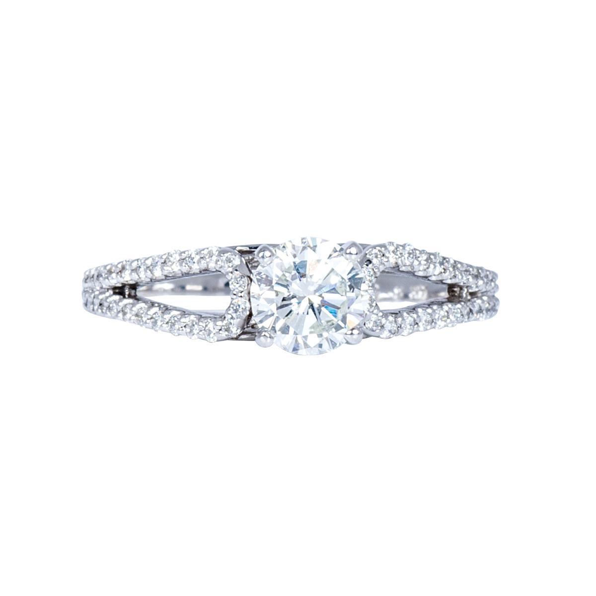 New 14k White Gold 0.92 CTW Engagement Ring