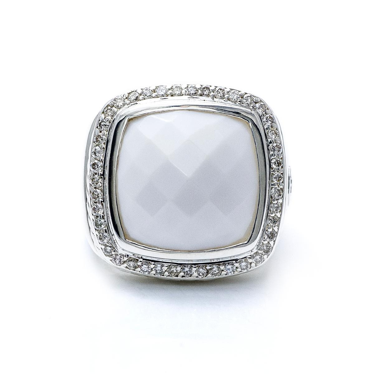 Vintage David Yurman Albion Diamond & White Agate Ring