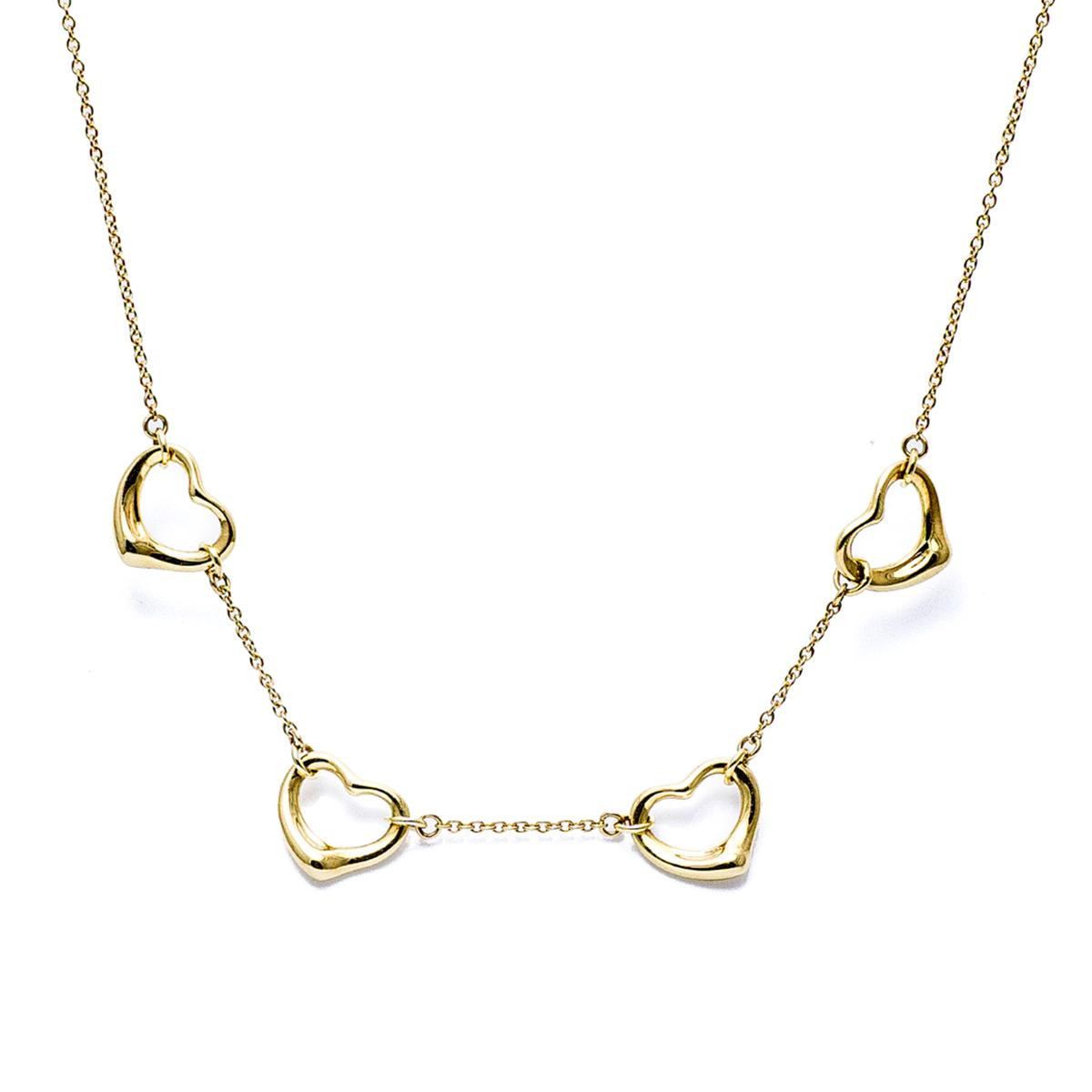 Vintage Tiffany & Co. Elsa Peretti 18k Open Hearts Necklace